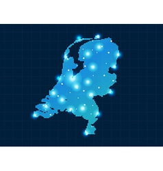Pixel netherlands map with spot lights vector