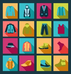 Icons set of fashion elements man clothing vector