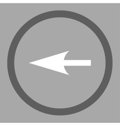 Sharp left arrow flat dark gray and white colors vector