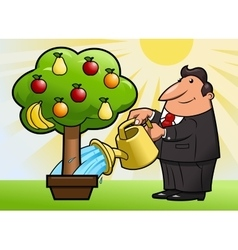 Watering the fruit tree 3 vector