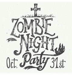 Zombie night party hand-lettering vector