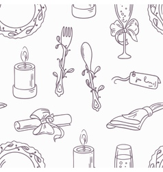 Doodle wedding table decoration seamless pattern vector