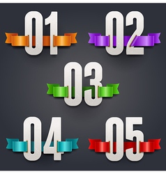Cardboard numbers with color silk ribbons vector