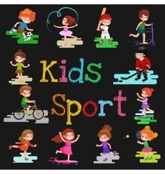Kids sport isolated boy and girl playing active vector