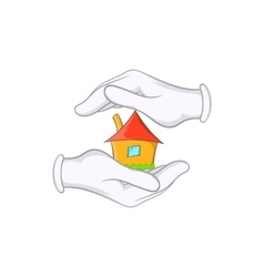 House in hands icon cartoon style vector