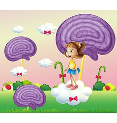 A girl above the cloud surrounded with spiral vector