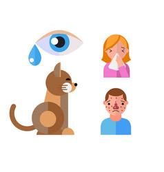 Allergy symbols animal disease healthcare cat vector