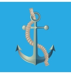 Anchor with rope isolated vector
