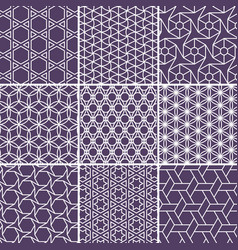 Arabic seamless patterns set from simple geometric vector