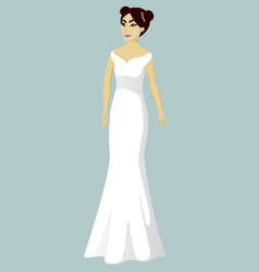 Bride in mermaid wedding dress vector