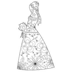 Bride silhouette coloring vector