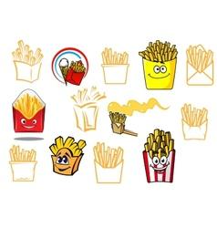 Cartoon french fries takeaway food designs vector