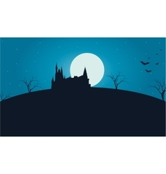 Castle and full moon halloween vector