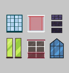 Different types house windows elements isolated vector