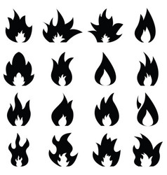 fire icon set vector image vector image