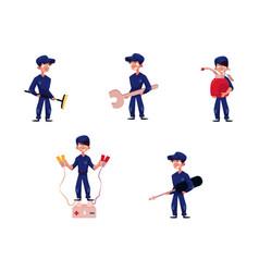 Flat young mechanic boy set vector