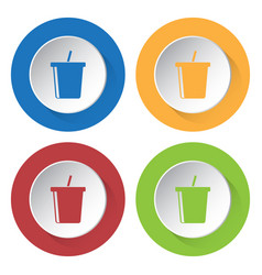 Four round color icons cold drink with straw vector