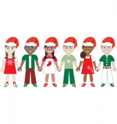 kids united Christmas vector image vector image