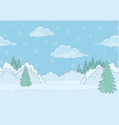 Landscape winter forest seamless vector