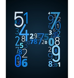 Letter h font from numbers vector