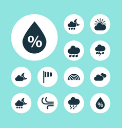 Nature icons set collection of sun-cloud weather vector