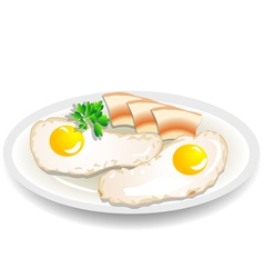 Omelet with bacon vector