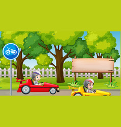 Park scene with kids racing car vector