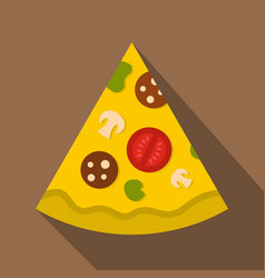 Piece of pizza with sausage icon flat style vector