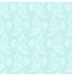Seagull bird drawing Summer sea seamless pattern vector image