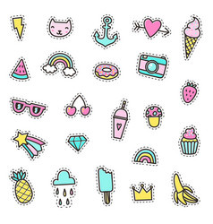 set of cute pins stickers objects vector image