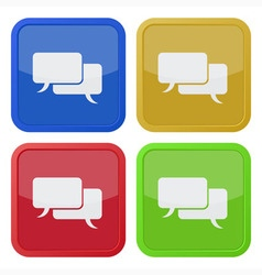 set of four square icons with speech bubbles vector image