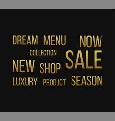 set of golden words for shop vector image