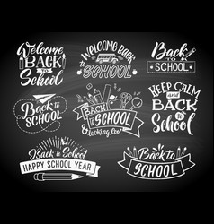set of monochrome school labels emblem vector image vector image