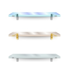 Set of shelves two different glass shelves and vector