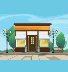 Shop boutique store with windows greenery vector