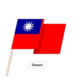 Taiwan ribbon waving flag isolated on white vector