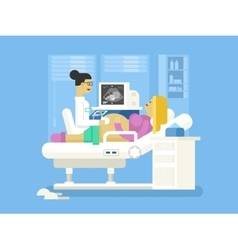 Ultrasound of a pregnant woman vector