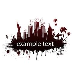 usa landmarks in grunge style vector image