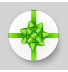 White Gift Box with Green Bow Top View vector image vector image