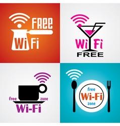 wifi cafe symbols vector image vector image