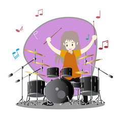 Young boy playing drum set happy love music vector