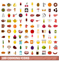 100 cooking icons set flat style vector