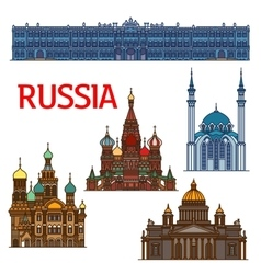 Colorful linear travel landmarks of russia icon vector