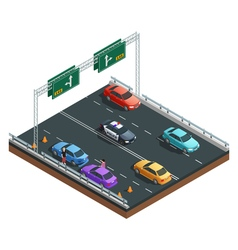 Car accidents isometric composition vector