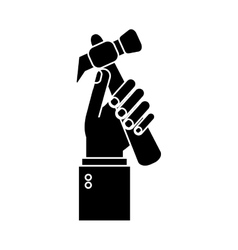 hand holding hammer tool construction pictogram vector image