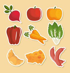 Food stickers design vector