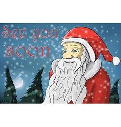 Merry christmas moon snow santa claus text see you vector
