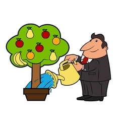 Watering the fruit tree 4 vector