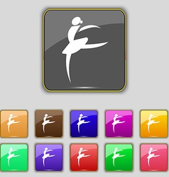 Dance girl ballet ballerina icon sign set with vector