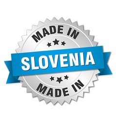 Made in slovenia silver badge with blue ribbon vector